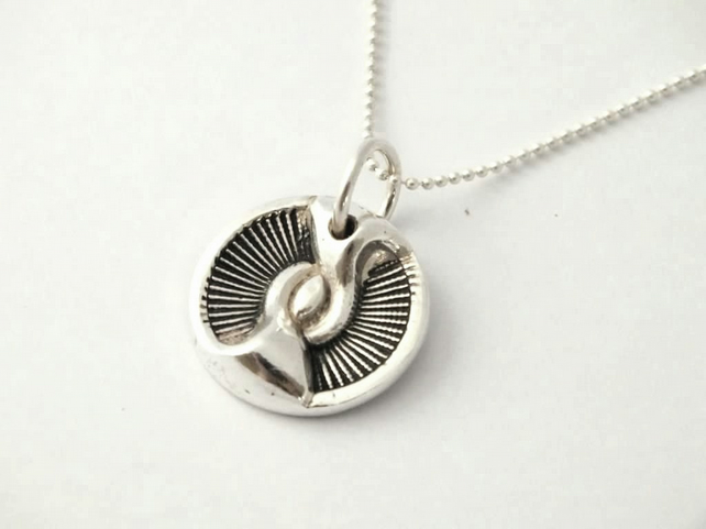 Solid Fine Silver Art Deco Vintage Button Pendant- ideal Christmas Gift