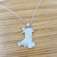 Beautiful Handmade Solid Silver Country Map Necklace for Wales or any other
