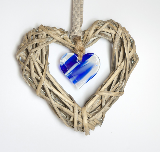 Wicker & Glass Hanging Heart