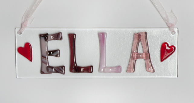 Fused Glass Name Plaque