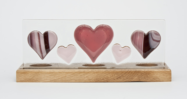 Pink Hearts - Fused Glass Panel set in Oak Tealight Holder