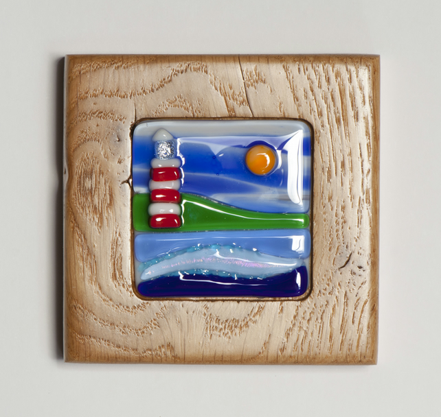 Fused Glass Sea Scene with Light House in Oak Block Frame