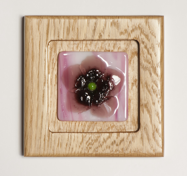 Pink Flower - Fused Glass Picture set in an Oak Block Frame