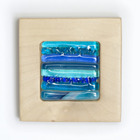 Fused Glass Picture with Bands of Blue and Teal set in a Sycamore Block Frame