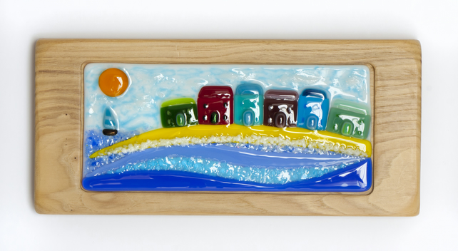Seaside Town Scene - Fused Glass set in a Handmade Oak Block Frame