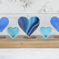 Blue & Turquoise Hearts Fused Glass Panel set in Oak Tealight Holder