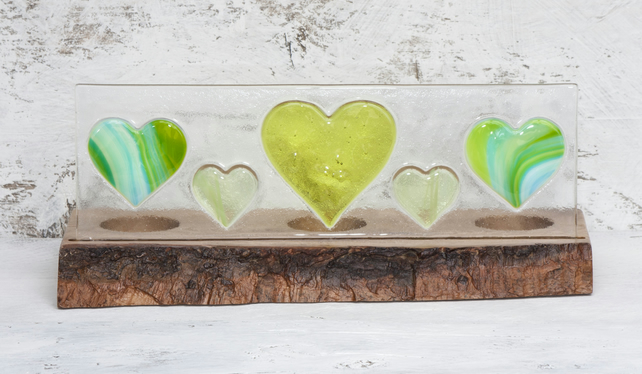 Green Hearts Fused Glass Panel set in Oak Tealight Holder