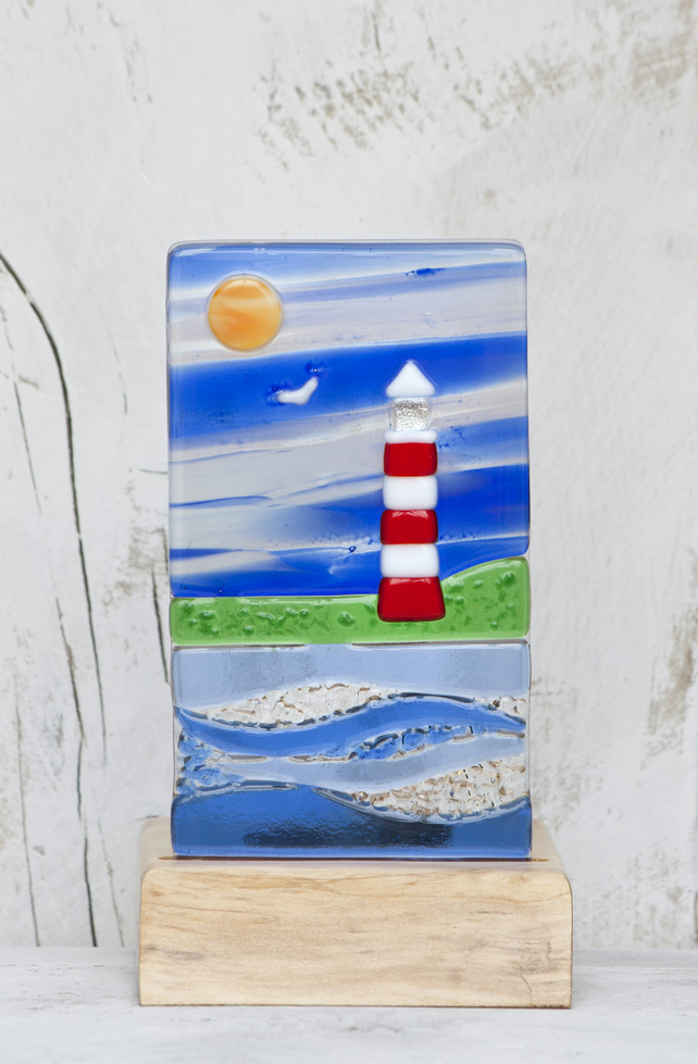 Lighthouse and Sea Scene - Fused Glass Panel set in a Sycamore Tealight Holder