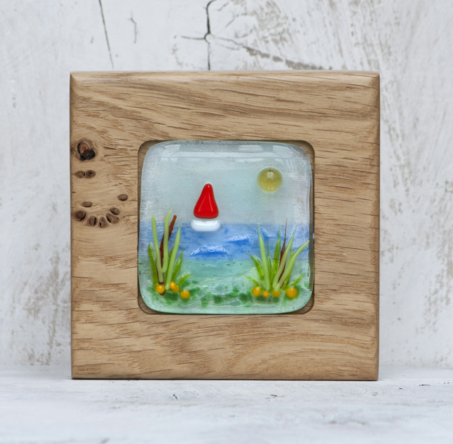 Sea Scene and Sail Boat Fused Glass Picture set in a Handmade Oak Block Frame