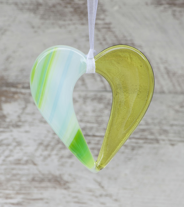 Green Fused Glass Hanging Heart