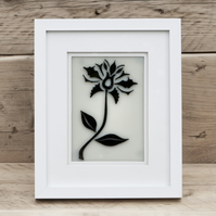 Damask Inspired Fused Glass Flower Picture