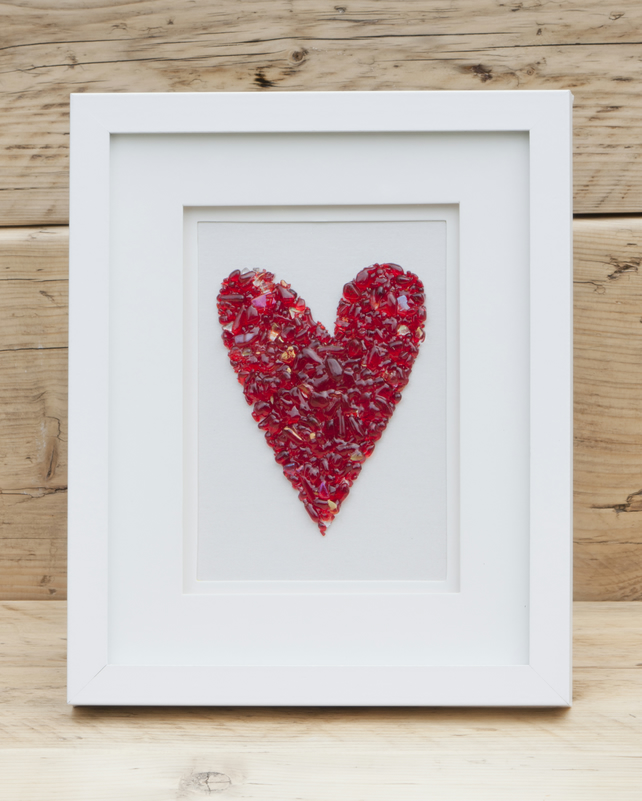 Quirky Heart - Fused Glass Picture