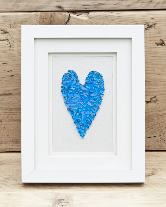 Quirky Turquoise Heart - Fused Glass Picture