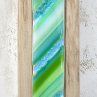 Fused Glass Picture with Bands of Green and Turquoise set in an Sycamore Block