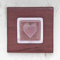 Fused Glass - Pretty Pink Iridised Heart in Wooden Block Frame