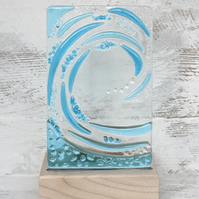 Fused Glass Wave set in an Sycamore Tealight Holder