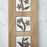 Fused Glass Flower Picture set in an Oak Block Frame