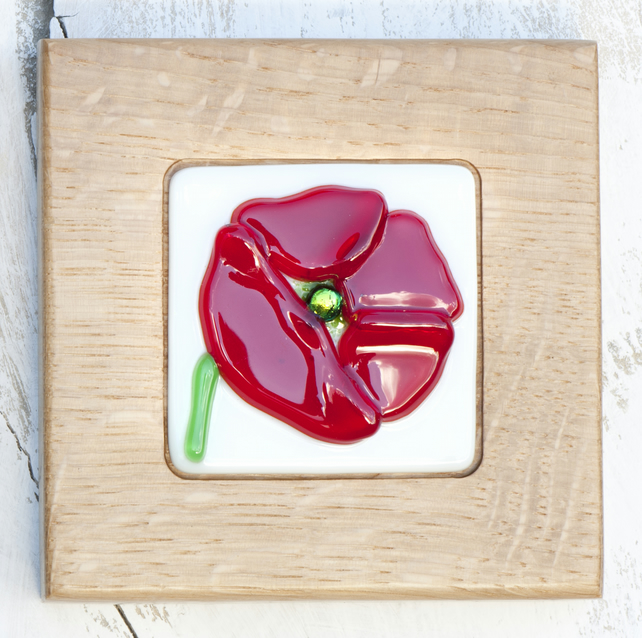 Poppy - Fused Glass Picture set in a Handmade Oak Block Frame