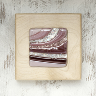 Fused Glass Picture with Bands of Plum and Sparkle set in a Sycamore Block Frame