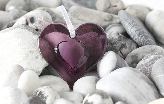 Purple Embossed Fused Glass Hanging Heart