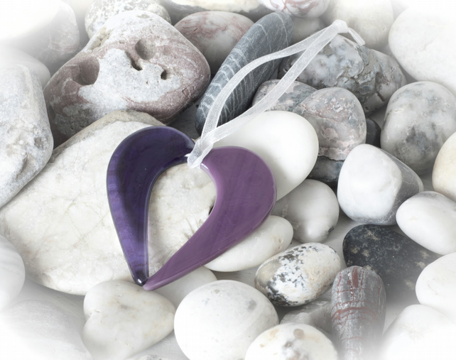 Purple Fused Glass Hanging Heart