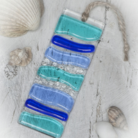 Blue & Turquoise - Fused Glass Light Catcher