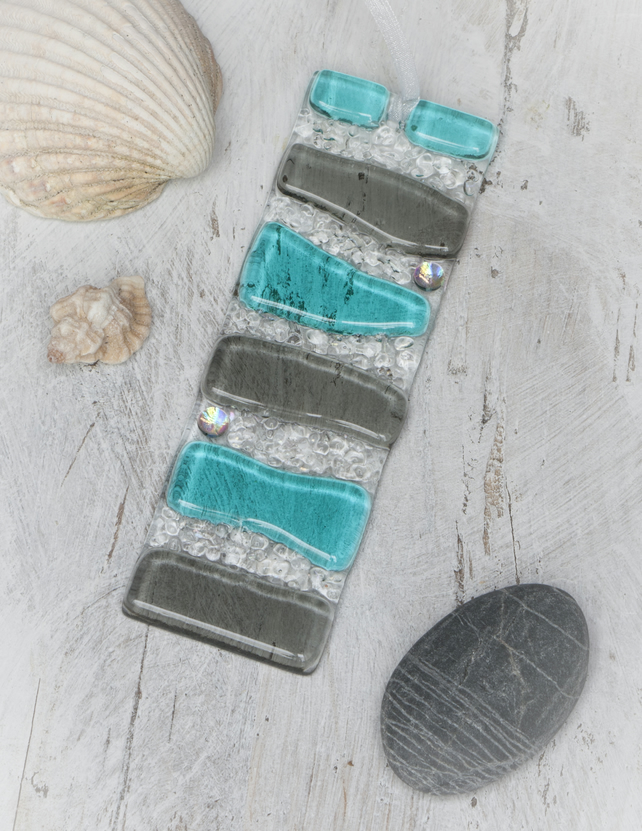 Teal and Grey - Fused Glass Light Catcher