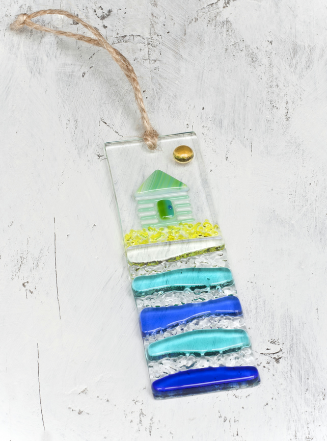 Beach Hut - Fused Glass Light Catcher