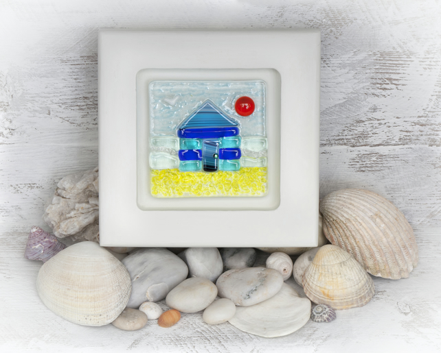 Beach Hut Fused Glass Picture in a White Washed Sycamore Frame