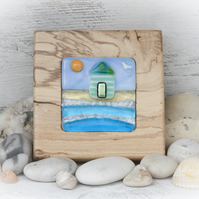 Fused Glass Picture of Beach Hut set in a Handcrafted Beech Frame