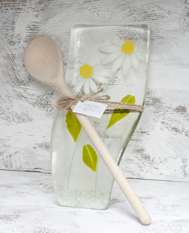 Fused Glass Spoon Rest -  Daisy Design (includes spoon)