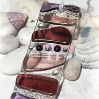 Pink, Plum and Purple - Fused Glass Light Catcher