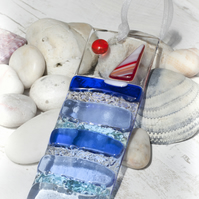 Sailing Boat - Fused Glass Light Catcher