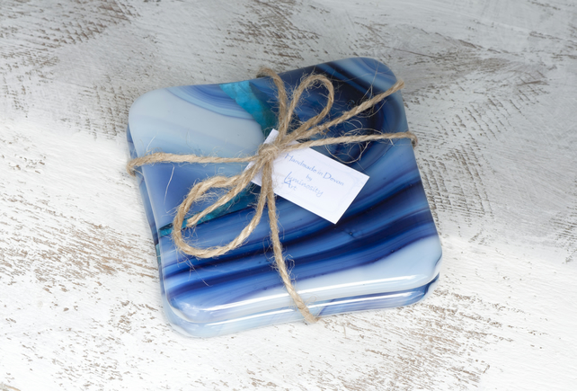 Fused Glass Coasters - Blue Art Glass with Turquoise Swirl