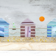 Beach Huts - Fused Glass Panel set in an Oak Tealight Holder