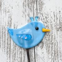 Fused Glass Bird Plant Stake