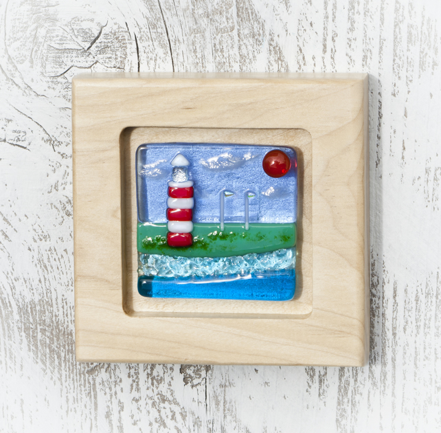 Fused Glass Picture - Lighthouse and Sea Scene in Handmade Sycamore Frame