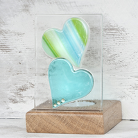 Fused Glass Hearts in Teal with Green set in a Handcrafted Oak Tea Light Holder