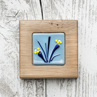Blue & Yellow Flower - Fused Glass Picture set in a Handmade Oak Block Frame