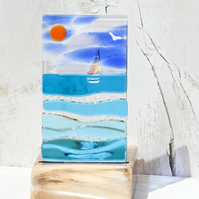 Fused Glass Sea Scene with Sailing Boat set in an Yew Tealight Holder