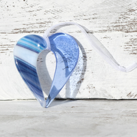 Blue Fused Glass Hanging Heart
