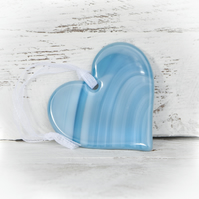 Teal Fused Glass Heart