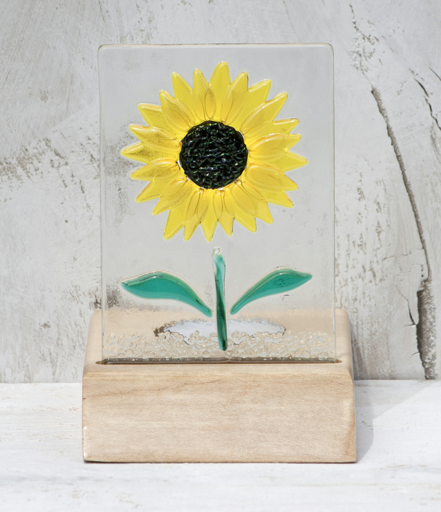 Sunflower Glass Panel set in an Sycamore Tealight Holder