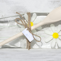 Fused Glass Spoon Rest -  Daisy Design with Wooden Spoon