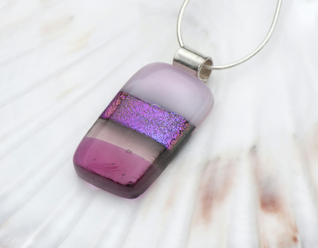 Fused Glass Necklace - Pinks