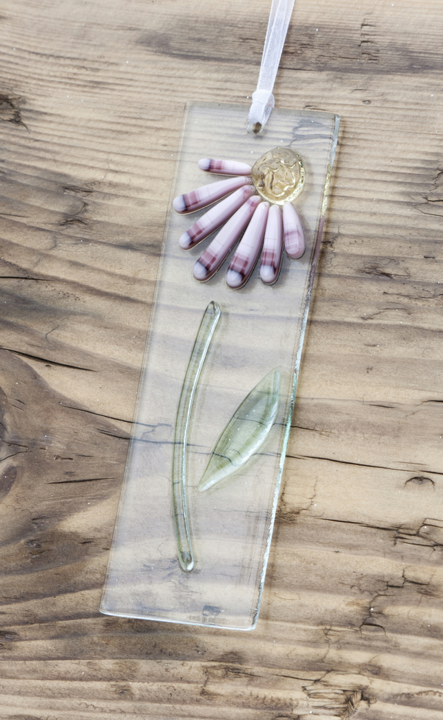 Fused Glass Light Catcher - Pink Daisy