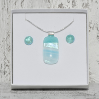 Fused Glass Necklace and Earrings Set in Soft Teal with Dichroic Detail