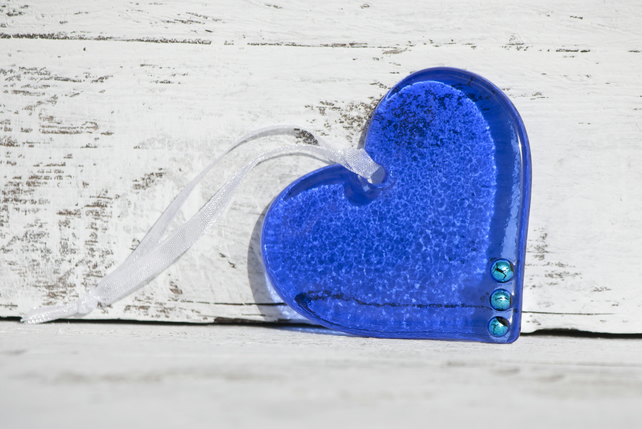 Royal Blue Glass Heart with Turquoise Dichroic Detail