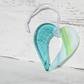 Teal and Green Striped Fused Glass Hanging Heart
