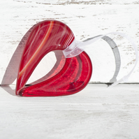 Red Fused Glass Hanging Heart